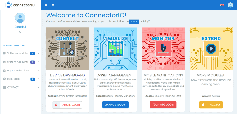 ConnectorIO Cloud main dashboard min