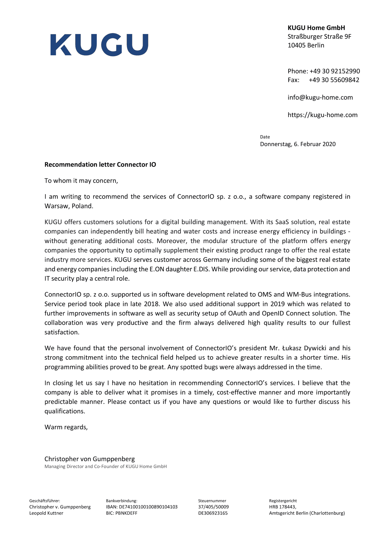 KUGU Connectorio recommendation letter